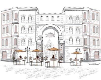 Fototapeta Seria widokiem na ulicę z kawiarni w starym mieście