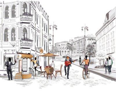 Fototapeta Seria widokiem na ulicę z ludźmi w starym mieście