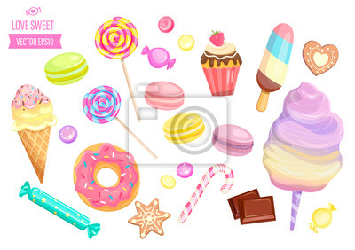 Fototapeta Set isolated sweets on white background-candy,ice cream,cotton candy,chocolate,macaroon and bisquit, cookies,candy cane and lollipop,caramel.Template for confectionery,banner and poster,advertise.
