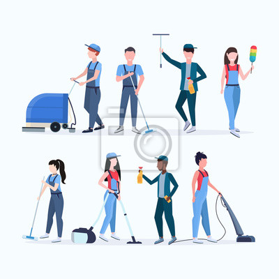 Fototapeta set janitors team cleaning service concept men women mix race cleaners in uniform working together with professional equipment flat full length different characters collection vector illustration