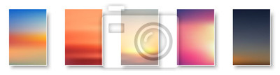 Fototapeta Set of colorful sunset and sunrise sea. Blurred modern gradient mesh background paper cards.