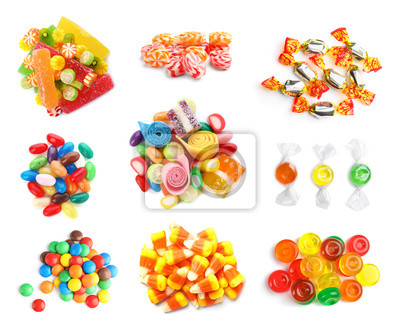 Fototapeta Set of different tasty candies on white background, top view