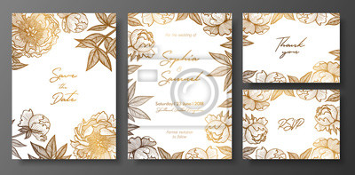 Fototapeta Set Of Gold And White Wedding Cards With Peonies Gold Floral