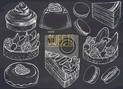 Fototapeta Set of hand drawn dessert on chalkboard. Vector illustration. Cakes, biscuits, baking, macaroons, cookie, pastries, donut, berry. Ink sketch illustration for dessert menu or food package design.