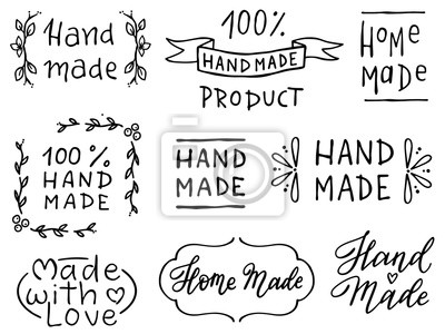 Fototapeta Set of hand drawn simple phrases home made and hand made. Prints for menu, restaurants or cafe, stamps or as separate elements. Ink, pen outline, black and white vectors.