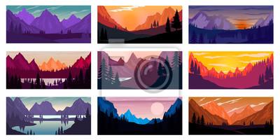 Fototapeta Set of poster template with wild mountains landscape. Design element for banner, flyer, card. Vector illustration