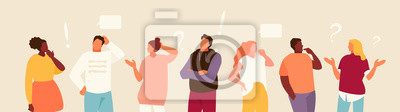 Fototapeta Set of puzzled and surprised office people. Problem solving and discussion. Vector flat illustration