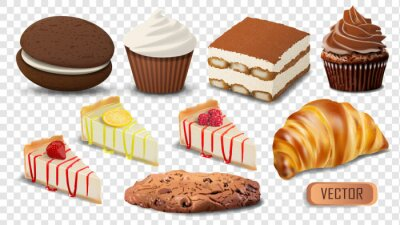 Fototapeta Set of realistic vector confectionery products isolated on transparent background. Illustration of cakes, cupcakes and cookies