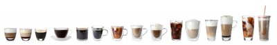 Fototapeta Set with different types of coffee drinks on white background