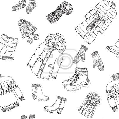 Fototapeta: Sezonu zimowego ubrania doodle szwu. ręcznie rysowane elementy