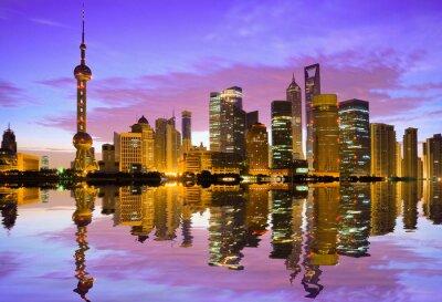 Fototapeta Shanghai skyline o świcie