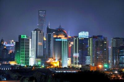 Fototapeta Shanghai skyline w nocy