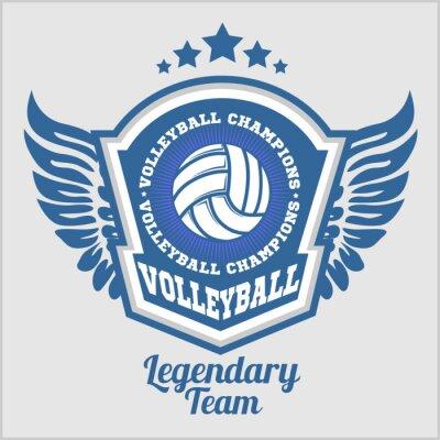 Fototapeta Siatkówka Mistrzostwa logo w piłkę. Vector sportu plakietka na turnieju lub mistrzostwach
