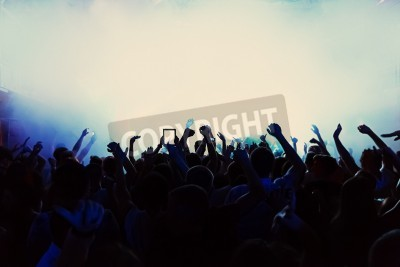 Fototapeta silhouettes of a crowd party concert music happy