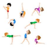 Siłownia szkicu ćwiczenia plakat, dzieci jogi, gimnastyka, zdrowy ...