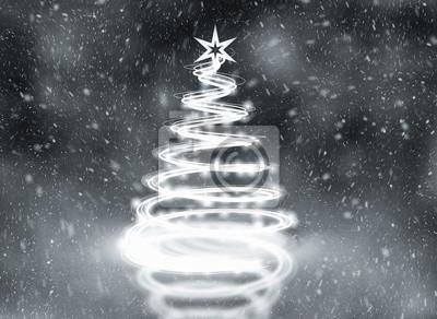 Fototapeta Silver abstract christmas tree illustration