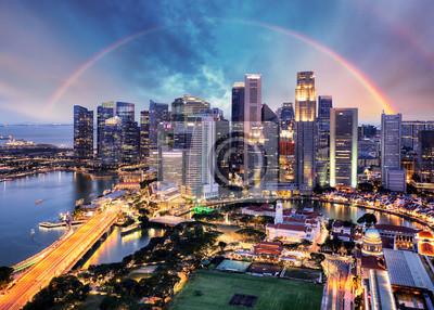 Fototapeta Singapore cityscape with rainbow, Asia