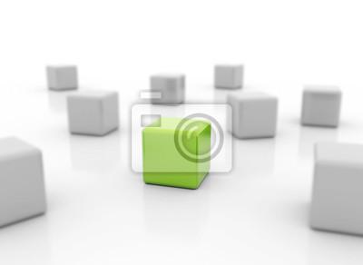 Fototapeta Single green cube standing out