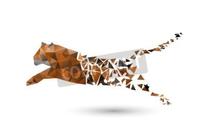 Fototapeta skaczącego tygrysa z wielokątów