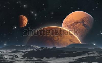 Fototapeta Skaliste planety i księżyc, astronautyczny tło. 3d ilustracji