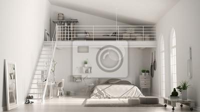Fototapeta Skandynawska Biała Minimalistyczna Sypialnia Na Poddaszu Z Domowym