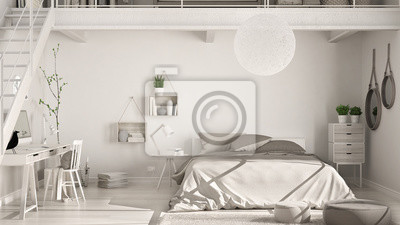 Fototapeta Skandynawska Minimalistyczna Sypialnia Na Poddaszu Z Domowym