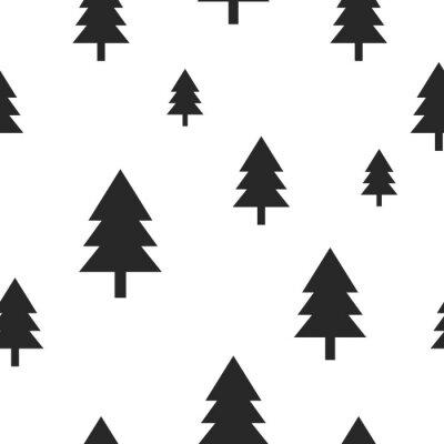 Fototapeta Skandynawski drzewo czarny las na białym tle Wektor bez szwu. Prosta i modny design dla tkanin, papieru oblewania, wydruków.
