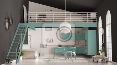 Skandynawski Minimalistyczny Apartament Na Poddaszu Jednopokojowy