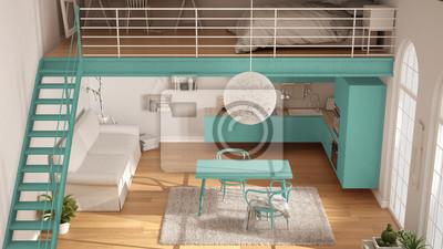 Skandynawski Minimalistyczny Poddasze Jednopokojowy Apartament