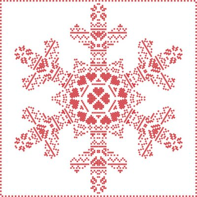 Fototapeta Skandynawski Nordic krzyż szycia, dziania Narodzenie wzór w kształcie płatka śniegu, z krzyżem ramy ściegu tym, śnieg, serca, gwiazdy, elementy dekoracyjne w kolorze czerwonym na białym tle