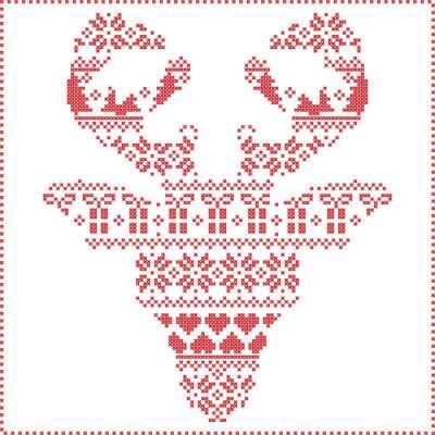 Fototapeta Skandynawski Nordic zimą szwy drutach wzór Boże Narodzenie z reniferów w kształcie głowy czołowych tym płatki śniegu, serca Xmas drzew Boże Narodzenie prezenty, śnieg, gwiazdy, ozdoby dekoracyjne 2