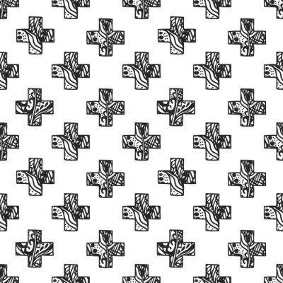 Fototapeta Skandynawski styl minimalne krzyż wzór z ażurowej fakturze netto. Czarno-biały geometria drukowania tkanin.