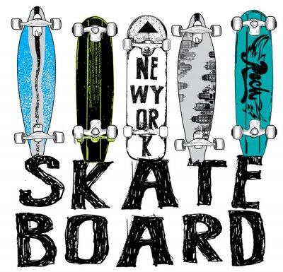 Fototapeta Skate board typografii, T-shirt grafika