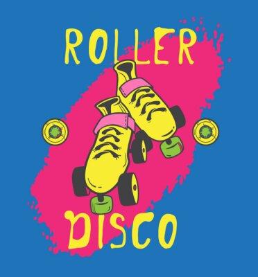 Fototapeta Skate rolki i roller_disco projekt graficzny dla koszulki