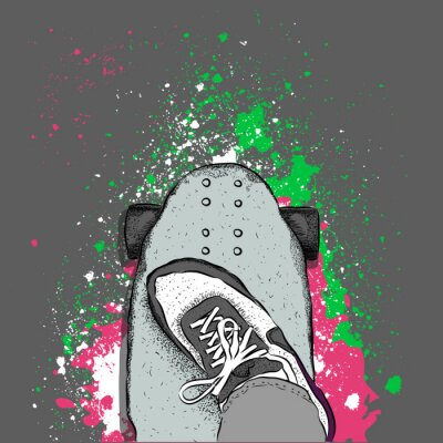 Fototapeta Skater na deskorolce. Grunge z plamami. ilustracji wektorowych