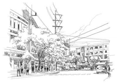 Fototapeta sketch drawing of city street.Illustration.