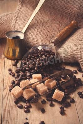 Fototapeta Składniki i przyrządy do produkcji kawy