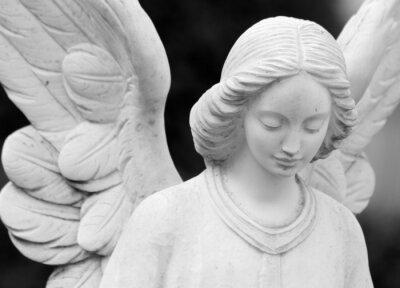 Fototapeta Skrzydlaty anielski pomnik szczegół twarzy i skrzydeł