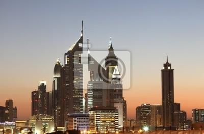 Fototapeta Skyline Downtown Dubai w nocy