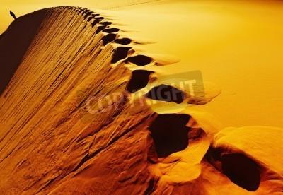 Fototapeta Ślady na piaszczystej wydmie, Pustynia Sahara, Algieria