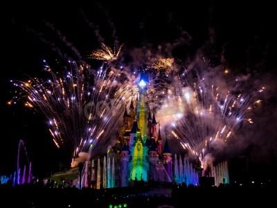 Fototapeta Sleeping Beautys castle during the dreams show at Disneyland Paris
