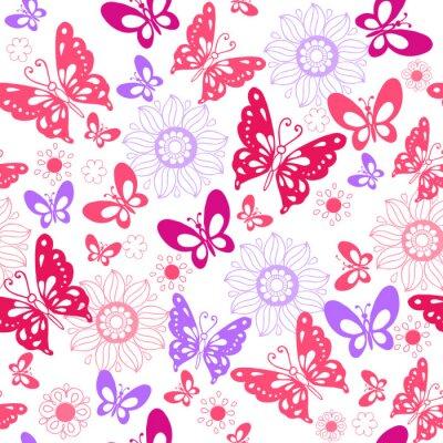 Fototapeta Śliczne różowe motyle na białym tle. Bez szwu deseń kwiatów i motyli. Ilustracji wektorowych