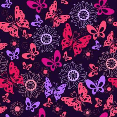 Fototapeta Śliczne różowe motyle na niebieskim tle. Bez szwu deseń kwiatów i motyli. Ilustracji wektorowych