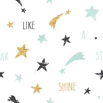 Fototapeta Śliczne śmieszne bezszwowe tło wzór z ręcznie rysowane odręcznie gwiazd i inspirującym cytatem błyszczą jak gwiazdy. Glitter, pastelowe niebieskie i czarne błyszczy na białym tle.