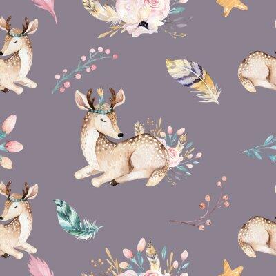 Fototapeta Śliczni rodzinni dziecko raccon, rogacz i królik. żyrafa zwierząt przedszkole i opatrzone ilustracja na białym tle. Akwarela boho raccon rysunek przedszkola wzór. Tło dla dzieci, druk przedszkola