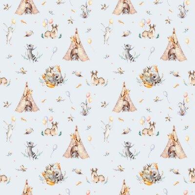 Fototapeta Śliczni rodzinni dziecko raccon, rogacz i królik. żyrafa zwierząt przedszkole i opatrzone ilustracja na białym tle. Tło dla dzieci, druk przedszkola