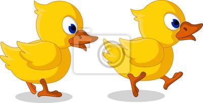 Fototapeta słodkie dwa małe kaczki kreskówki walking