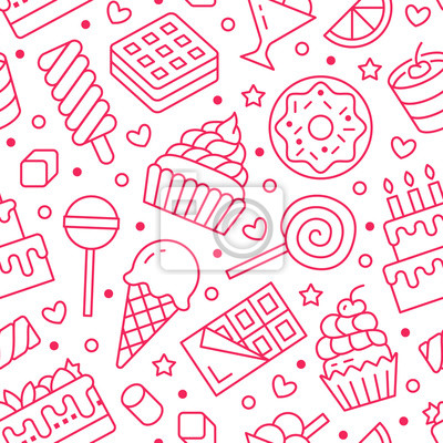 Fototapeta Słodkie jedzenie wzór z ikonami płaskiej linii. Ilustracje wektorowe ciasta - lizak, tabliczka czekolady, koktajl mleczny, ciasteczko, tort urodzinowy, sklep ze słodyczami. Słodkie różowe białe tło dl