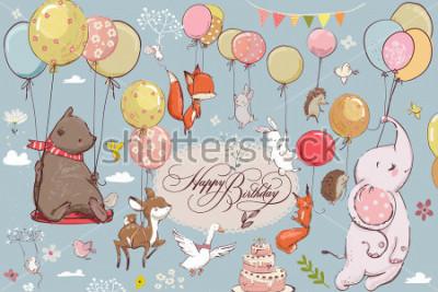 Fototapeta słodkie zwierzęta latające z balonu