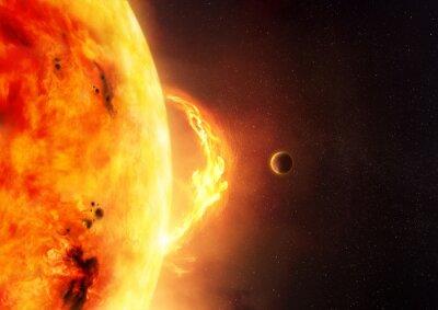 Fototapeta Słońce - Solar Flare. Ilustrację słońca i flary słońca z planety dać wagę do wielkości pochodni.